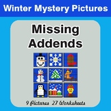 Winter Math: Missing Addends - Color-By-Number Math Mystery Pictures