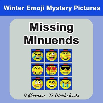 Winter Math: Missing Minuends - Color-By-Number Mystery Pictures