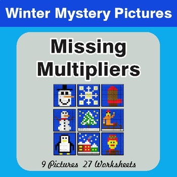 Winter Math: Missing Multipliers - Color-By-Number Mystery Pictures