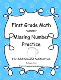 Winter Math Missing Number Addition and Subtraction Practice