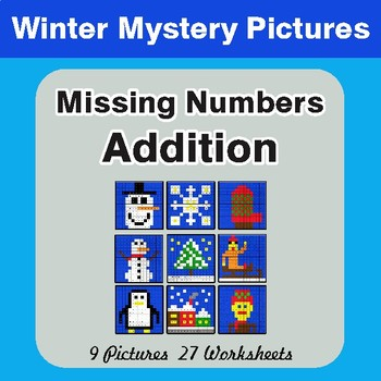 Winter Math: Missing Numbers Addition - Color-By-Number Math Mystery Pictures