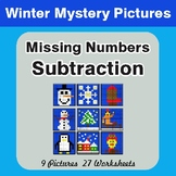 Winter Math: Missing Numbers Subtraction - Color-By-Number