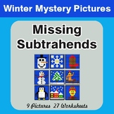 Winter Math: Missing Subtrahends - Color-By-Number Mystery