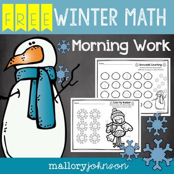 FREEBIE Winter Math Morning Work
