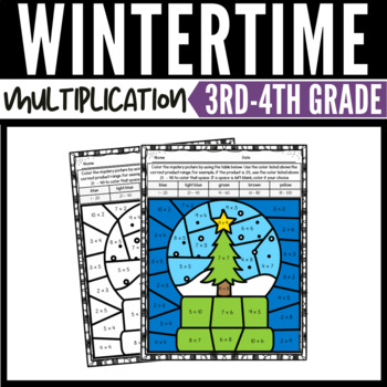 Winter Math Multiplication Color-by-Number Worksheets
