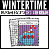 Winter Math Division Mystery Pictures Worksheets