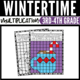Winter Math Multiplication Mystery Pictures Worksheets