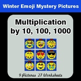 Multiplication by 10, 100, 1000 Color-By-Number Winter Math Mystery Pictures