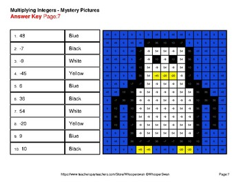 Winter Math: Multiplying Integers - Color-By-Number Mystery Pictures