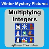 Winter Math: Multiplying Integers - Color-By-Number Math Mystery Pictures