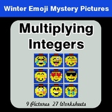 Winter Math: Multiplying Integers - Color-By-Number Myster