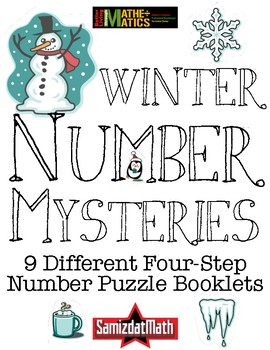 Winter Math Mysteries: 4 Clue Number Collaborative Number Puzzles