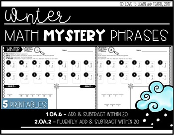 Winter Math Mystery Phrases **Addition & Subtraction within 20**