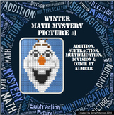 Winter Math Mystery Picture Addition Subtraction Multiplication Division