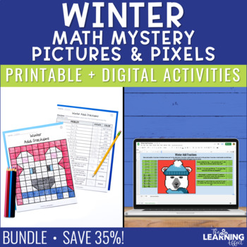 Winter Math Mystery Pictures | Fractions
