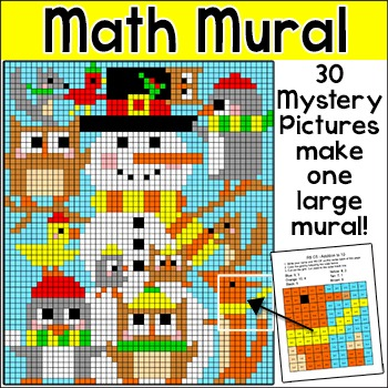 Winter Math Mystery Pictures Snowman Mural - Winter Activities