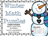 Winter Math Number Puzzles (MLK, The Mitten, Winter, Arcti