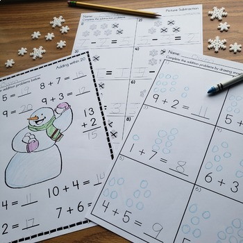Winter Math - Numbers, Addition and Subtraction Printables