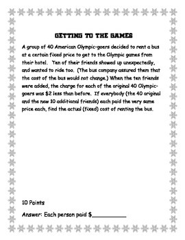 Winter Math Olympics II