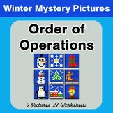 Winter Math: Order of Operations - Color-By-Number Math Mystery Pictures