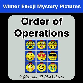 Winter Math: Order of Operations - Color-By-Number Mystery Pictures