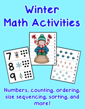 Winter Math Pack - Counting, Numbers, Measuring, Sorting,