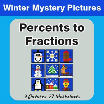 Winter Math: Percents to Fractions - Color-By-Number Mystery Pictures
