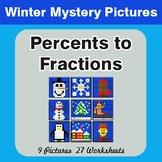 Winter Math: Percents to Fractions - Color-By-Number Myste