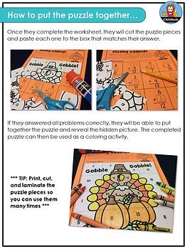 Winter Math Picture Puzzles {1st Grade}