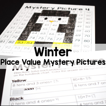 Winter Math Place Value Color By Number 100's Chart Mystery Pictures