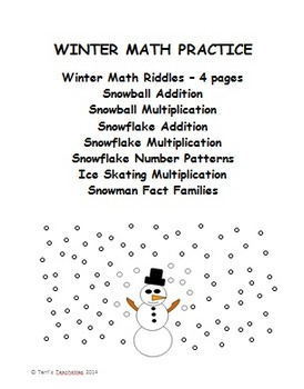 Winter Math Practice - riddles, fact families, patterns, basic facts, and more