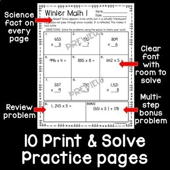 Winter Math Print and Solve Gr. 5