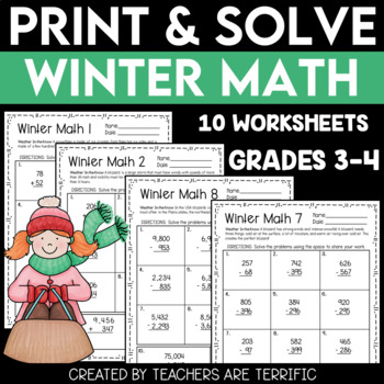 Winter Math Print and Solve Gr. 3-4