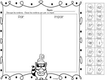 Winter Math Printables in French - Counting and Representing Numbers to 100
