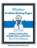 Winter Math Problem Solving Pages - Addition, Subtraction,