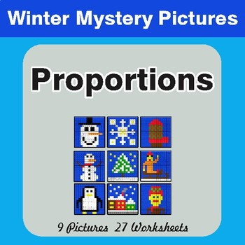 Winter Math: Proportions - Color-By-Number Mystery Pictures