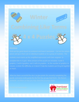 Winter Math Puzzle - Combining Like Terms