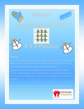Winter Math Puzzle - Factoring and FOIL Method