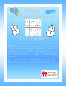 Winter Math Puzzle - One Step Equations
