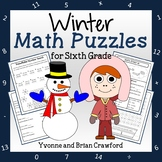 Winter Math Puzzles - 6th Grade Common Core Distance Learning
