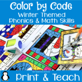 Winter Activities-Reading & Math Color by Code Partner Games
