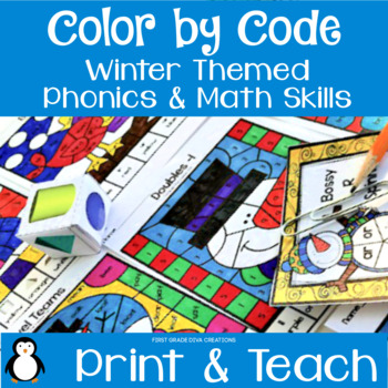 Color by Code Partner Games~ Winter Math & Reading Activities
