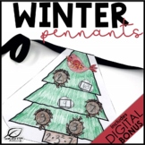 Winter Math Review Pennants | Middle School Math | Digital Google Slides