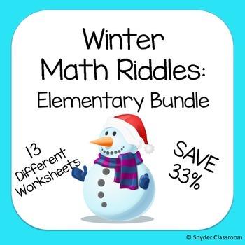 Winter Math Riddles: Elementary Bundle