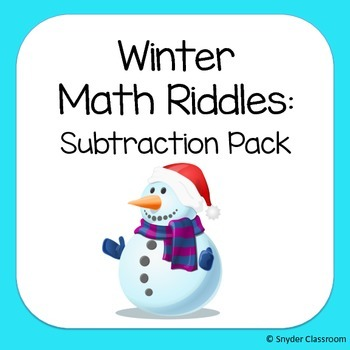 Winter Subtraction Math Riddles
