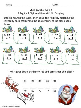 Winter Math Riddles for 1st-3rd (Addition)
