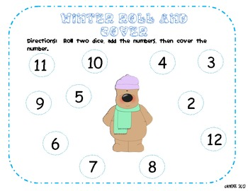 Winter Math Roll and Cover Center or Game