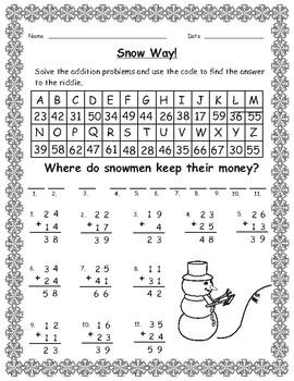 Winter Math Secret Code Addition