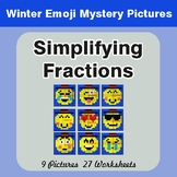 Winter Math: Simplifying Fractions - Color-By-Number Mystery Pictures