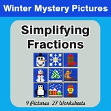 Winter Math: Simplifying Fractions - Color-By-Number Myste